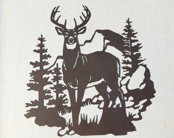 Deer In the Valley Metal Wall Art