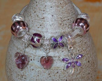 Bracelet Charm's style romantic purple and mauve - to order