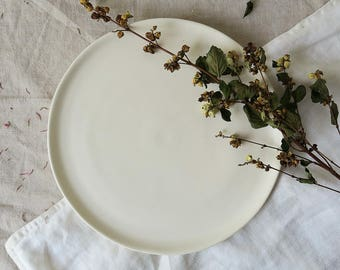 Chalk dinner plate - satin matt white plate - hand made pottery - hand thrown plate - tableware - dinnerset - large plate - ceramics
