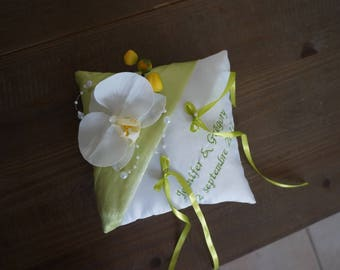 lime green wedding ring pillow
