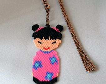 gift idea, this great bookmark kokeshi Pearl woven