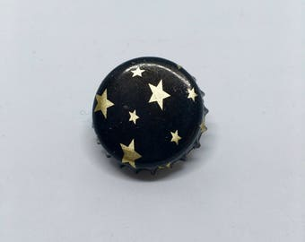 Star Bottle Cap Pin Cute Recycled Vintage Goth Style