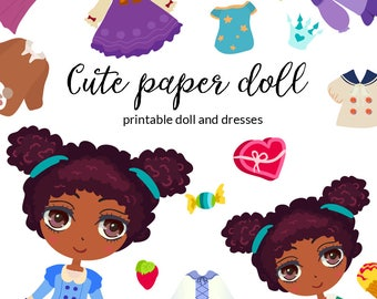 Cute afro girl. Printable paper doll