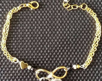 """Double infinity rhinestone"" bracelet 18cm + 3"