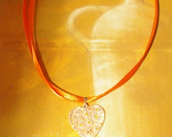 heart and Ribbon pendant necklace