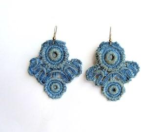 Denim lace earrings