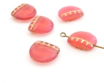 1 Pearl width half circle pink and gold 14x17mm Czech glass