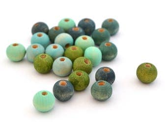 Mix of 25 green and blue beads 8 mm wood round