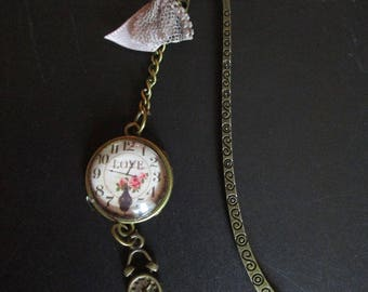 clock in brass and glass cabochon bookmark