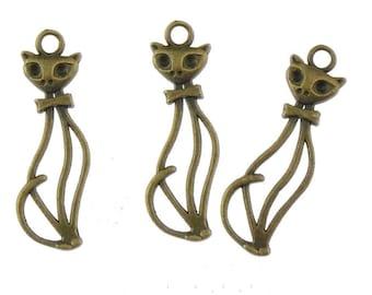 5 - 50 Pieces Cat bronze Charms Pendants Necklace Antique bronze 33 x 11 mm, Bronze cats, Boho Style, The more, the cheaper