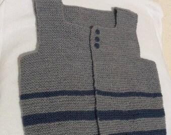Hand knitted vest/tank boy 1 grey/Navy