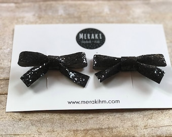 Black Glitter Bow Pig Tail Clips, Pig Tail Clips, Glitter Bows, Baby Bows, Hair Clips
