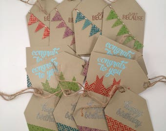 Handmade Gift Tags, set of 12 in Recycled Tin
