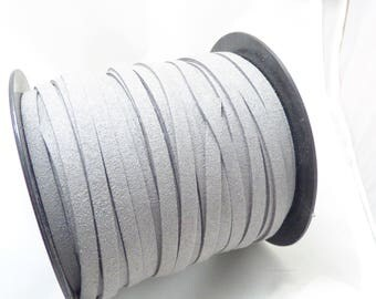 2 m cable flat 5 MM light grey suede