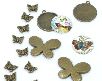 Set of bronze charms and cabochons butterflies
