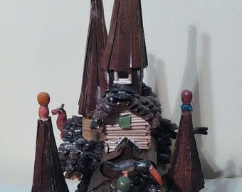 Artistic mystical fairy house, Model house, Gift, Christmas gift, Wooden house, Decoration, Unusual, Pixie, Fairy, Models, colectables