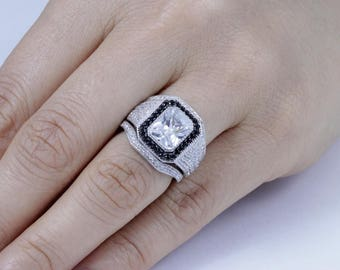 3PC Sterling Silver Black Cz Wedding Band Engagement Rings Set Size 3-12 SML101