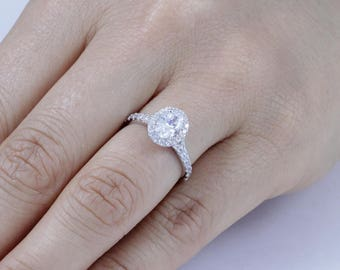 Oval Halo 925 Sterling Silver CZ Engagement Ring Wedding Band Size 3-12 SS18A