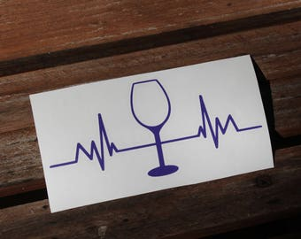 Wine Pulse Vinyl Decal, Wine Pulse, Wine Decal, Wine Vinyl