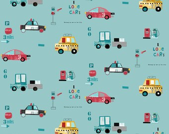 AVALANA CARS X40CM TURQUOISE COTTON JERSEY FABRIC