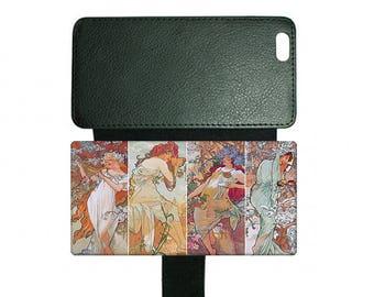 Alphonse Mucha Four Seasons #2 Art Nouveau Faux Leather Mobile Phone Case Fits iPhone Samsung Galaxy 4 4s 5 6  7 8 Plus X S5 S6 S7 S8 Edge