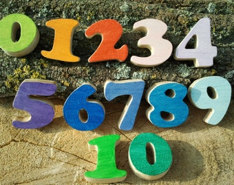 numbers 0 to 10 natural pine wood