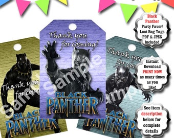 Black Panther Party Favor Tags, Printable Loot Bag Tags, Black Panther Birthday Party, Superhero Birthday, Black Panther Party Decorations