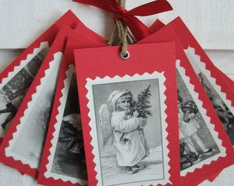 Set of 10 labels Christmas (No. 7) Vintage / Red