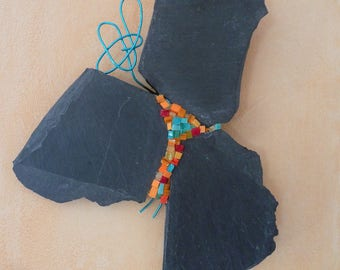 Aggelos: wall hanging slate tile and glass, symbolizing an Angel