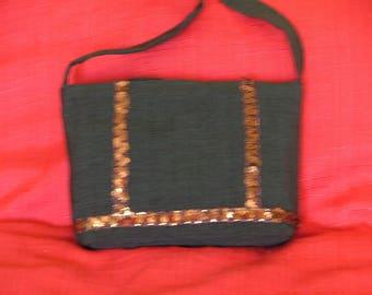 Brown stripes shoulder bag with gold glitter
