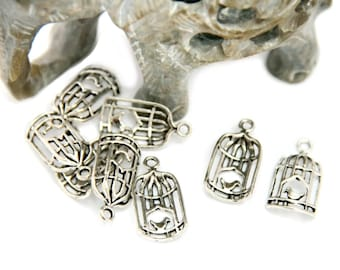 20 Tibetan silver charm pendant new birdcage with little bird