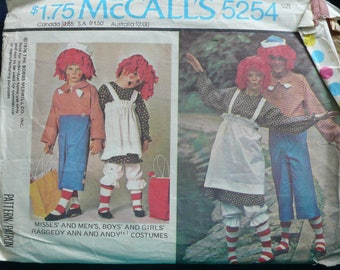 Costume Pattern for Halloween, Raggedy Ann - Vintage McCalls 5254 - Children's Sizes 2-4