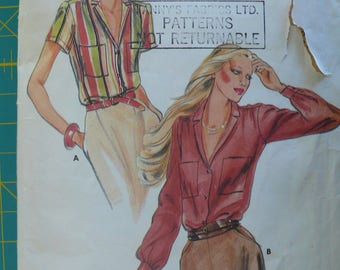 Women's Blouse Pattern, Vintage Butterick 6822, Size 12