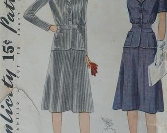 Women's Two-Piece Suit Pattern, Vintage Simplicity 4075, Size 18 - CoPA Pattern circa 1940