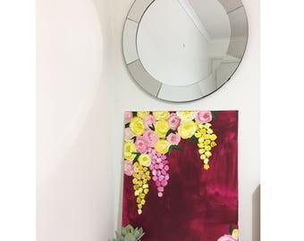 "Large Original Acrylic Floral Painting ""JULIEANNE"", 2017"