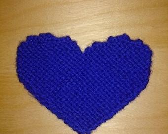 Knit blue heart saucer