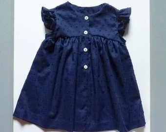 Navy Blue polka dots dress, Ruffles at armholes