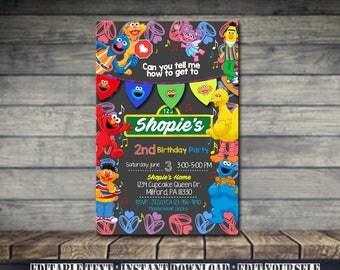 Sesame Street Invitation,Sesame Street Birthday,Sesame Street Birthday Invitation,Sesame Street Party,Sesame Editable,Editable Card-SL40