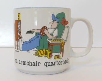 Mr. Armchair Quarterback Coffee Mug | Jim Benton Design by Papel | Vintage 1980s Mug | Football Favorite