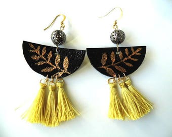 Leather with gold tassel earrings