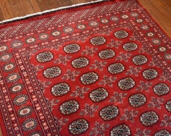 Fine Bokhara Rug, 4'11''x8'6'', Red/Red, All wool pile