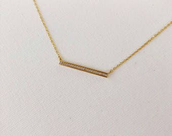 Gold Crystal Bar Dainty Necklace