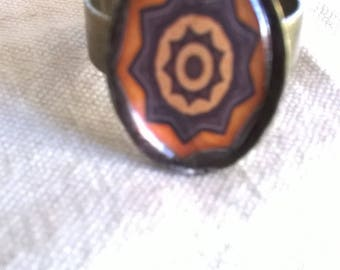 bronze Brown and orange mandala resin cabochon ring