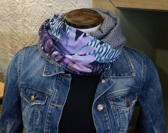 FX91 snood scarf tissue fluid light grey jersey purple blue pink floral and polka dot
