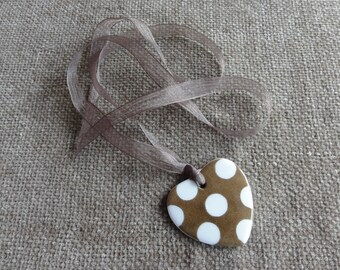 White porcelain hand painted Heart Necklace.