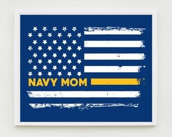 Navy Mom Wall Art Print, Proud Navy Mom, Military Wall Art, US Flag, Navy Decor, Military Decor