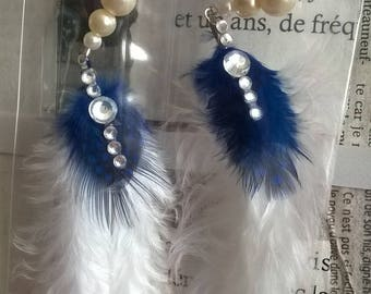 Feather and rhinestone earrings