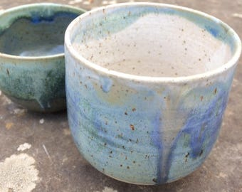 set of 2 cups, blue stoneware