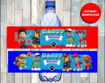 Printable Paw Patrol Water Bottle labels instant download, Paw Patrol party bottle labels, Paw Patrol Bottle labels