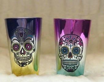 Skeleton lovers set,skeleton glasses,skeleton glass,skull glass,day of the dead,Halloween glasses,catrina glass,skull glasses,sugar skull